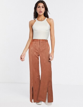InWear Chloe slit front flared pants in brown