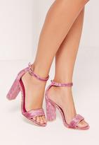 Missguided Crushed Velvet Block Heeled Sandals Pink