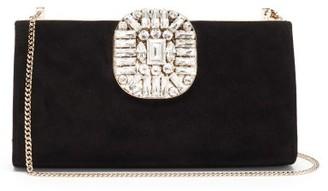 Jimmy Choo Leonis Crystal-embellished Suede Shoulder Bag - Black
