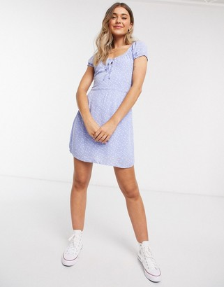 Abercrombie & Fitch ruched mini dress in light blue