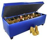 The Sole Secret Blue Vinyl Retro Shoe Storage Bench/Ottoman