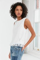 Silence & Noise Silence + Noise Distressed Denim Fringe Tank Top