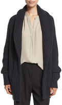 Vince Ribbed Cardigan-Style Car Coat