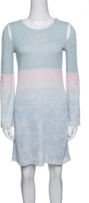 Chanel Pastel Lurex Knit Cutout Armhole Detail Long Sleeve Tunic M