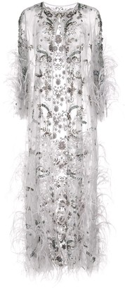 Marchesa Feather Fringe Cape