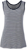 Lands' End Women's Petite Cotton Tank Top-Classic Navy/White Stripe