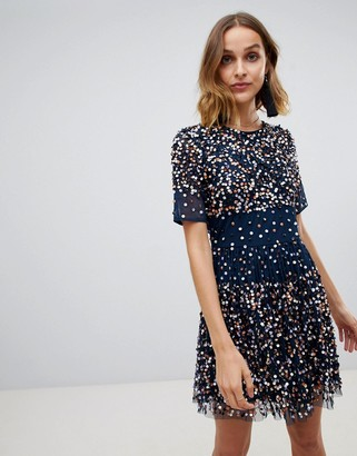 Lace & Beads scatter embellished mini dress in navy