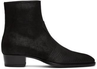 Saint Laurent Black Lizard Wyatt Zip Boots