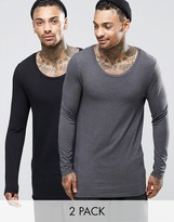 Asos Longline Muscle Long Sleeve T-Shirt With Scoop Neck 2 Pack
