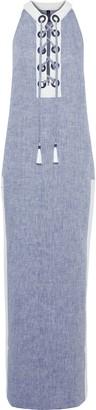 Emma Pake Allegra Lace-up Melange Linen Coverup