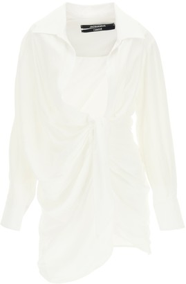 Jacquemus La Robe Bahia Knotted Shirt Dress