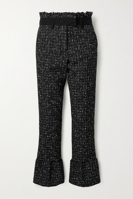Sacai Frayed Canvas And Satin-trimmed Tweed Flared Pants - Black