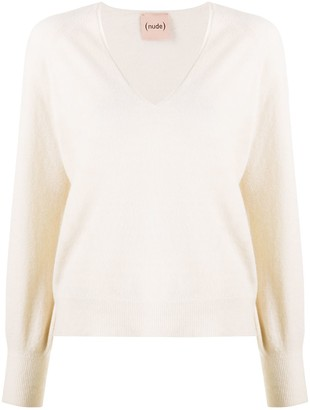 Nude V-Neck Fine-Knit Jumper