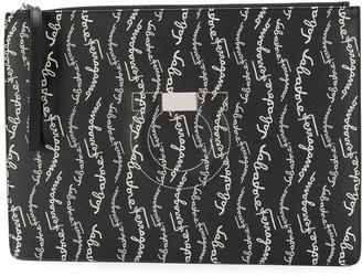 Salvatore Ferragamo Gancini signature print clutch