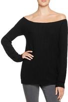 Aqua Off-The-Shoulder Tunic Sweater