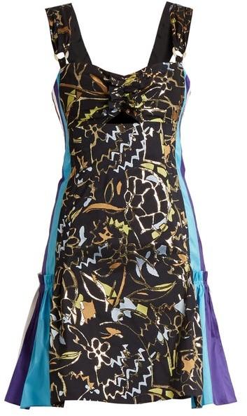 Peter Pilotto Contrast-panel Embroidered-jacquard Mini Dress - Navy Multi