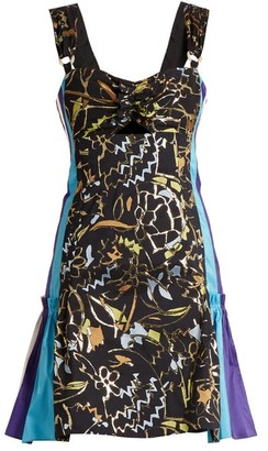 Peter Pilotto Contrast-panel Embroidered-jacquard Mini Dress - Navy Multi