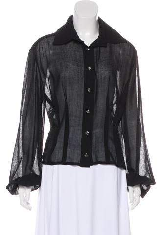 Chanel Sheer Button-Up Top w/ Tags