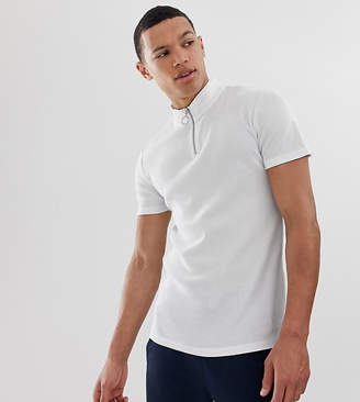 Asos Design DESIGN Tall muscle rib t-shirt with stretch and turtle zip neck in white