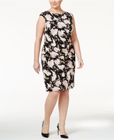 Jessica Howard Plus Size Metallic Floral Ruched Sheath Dress