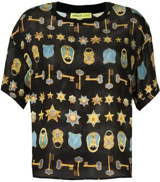 Versace padlock and key print T-shirt