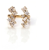 Irregular Diamond Zig-Zag Finger Cuff