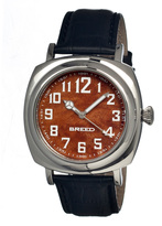 Breed Silver & Black Mozart Leather-Strap Watch