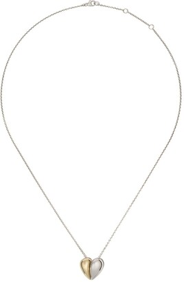 Georg Jensen 18kt yellow gold and sterling silver Curve heart pendant necklace