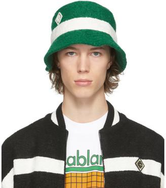Casablanca Green Cashmere Logo Patch Bucket Hat