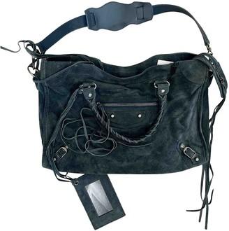 Balenciaga City Blue Suede Handbags