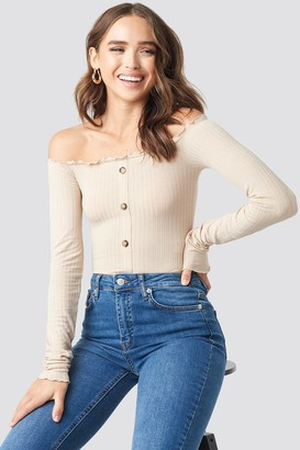 BEIGE Statement By NA-KD Denise Bobe Button Detail Ribbed Top