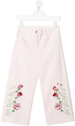 MonnaLisa Rose-Embroidered Jeans