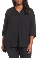 Sejour Plus Size Women's Notch Collar Henley Tunic