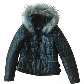 Ikks Black Leather Leather Jacket for Women