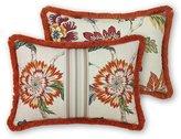 Rose Tree Lisburn Fringed Jacobean Floral & Herringbone Boudoir Pillow