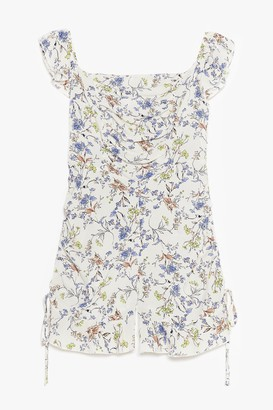 Nasty Gal Womens Before You Grow Floral Ruffle Playsuit - White - 6, White