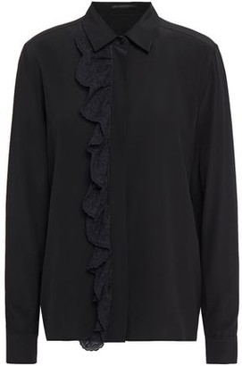 Stella McCartney Lace-trimmed Silk Crepe De Chine Shirt