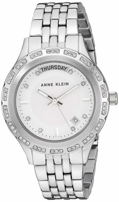 Anne Klein Women's Swarovski Crystal Accented Day/Date Function Silver-Tone Bracelet Watch AK/3475SVSV