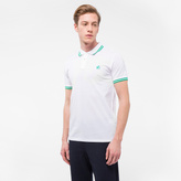 Paul Smith Men's Slim-Fit White PS Logo Polo Shirt With Green Tipping