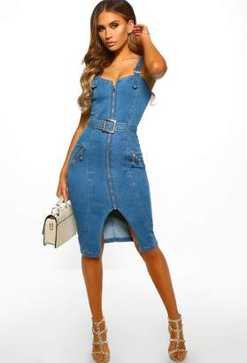 Pink Boutique Lucky Day Mid Blue Buckle Detail Denim Midi Dress