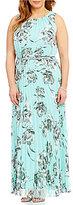 Jessica Howard Plus Floral-Print Pleated Maxi Dress