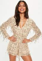Missguided Nude All Over Sequin Tie Waist Romper