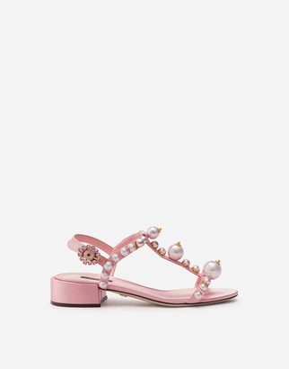Dolce & Gabbana Bejeweled Satin Sandals With Pearl Embroidery