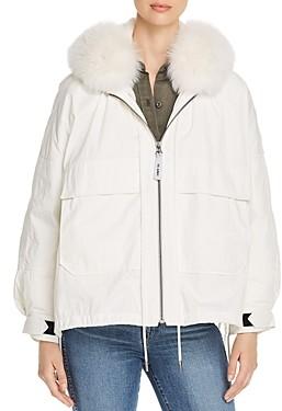 Yves Salomon Fur Trim Down Coat
