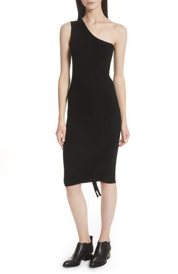 Alexander Wang Ruched Merino Wool One-Shoulder Dress