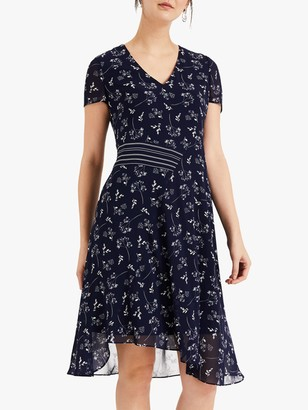 Phase Eight Emmerline Asymmetric Floral Print Dress, Navy