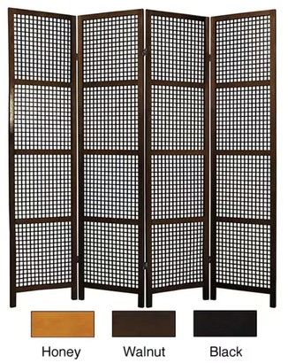 Oriental Furniture Miyagi Open Lattice 4-panel Room Divider - 72 x 71