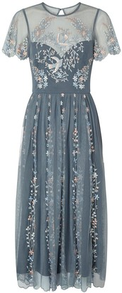 Monsoon Delilah Embroidered Midi Dress - Grey