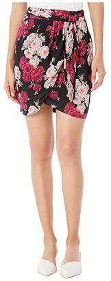 The Kooples Floral Skirt (Black/Pink) Women's Skirt