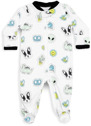 Baby Noomie Baby Boy's Blue Patches Pima Cotton Footie